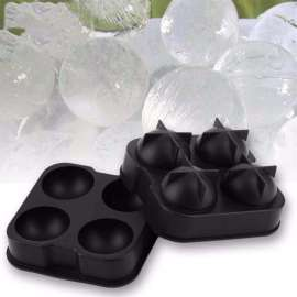 Flexible Silicone Ice Cube Ball Maker 4 Mold Tray