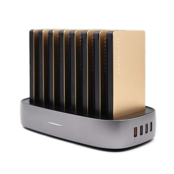 Powerology 8 in1 Power Station 8000Mah With Built-In Cable - Gold