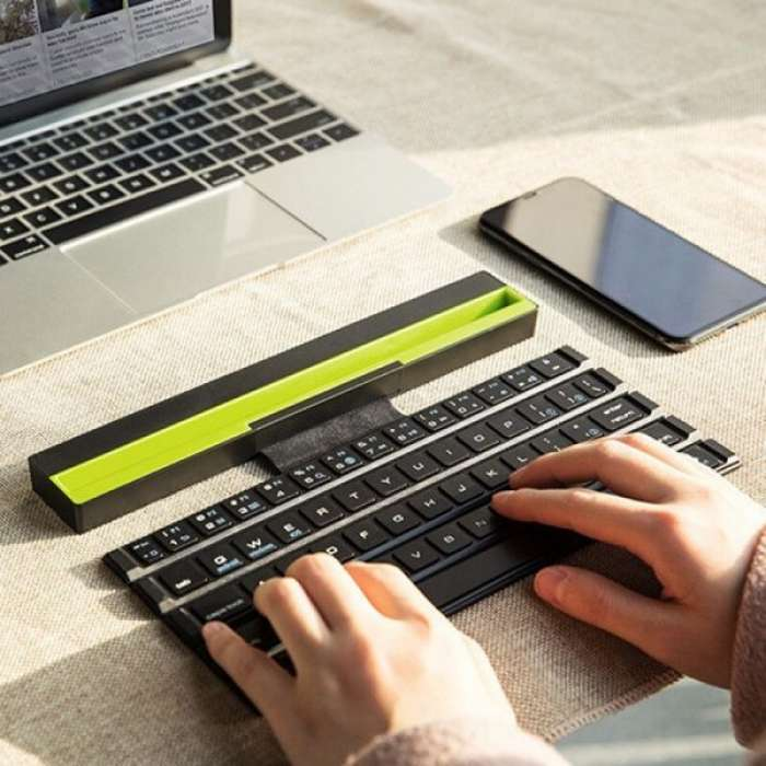Green Multifunctional Rolable Wireless Bluetooth Keyboard With Holder For Mobile Or Tablet (Arabic / English)
