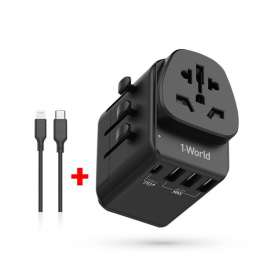 Momax 1-World AC Travel Adapter with Type-C PD + 3USB+Lightning to Type-C Cable - Black (VPD0037)