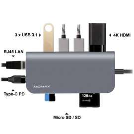 MOMAX Onelink 8-In-1 TYPE-C HUB (DHC6A) - Grey