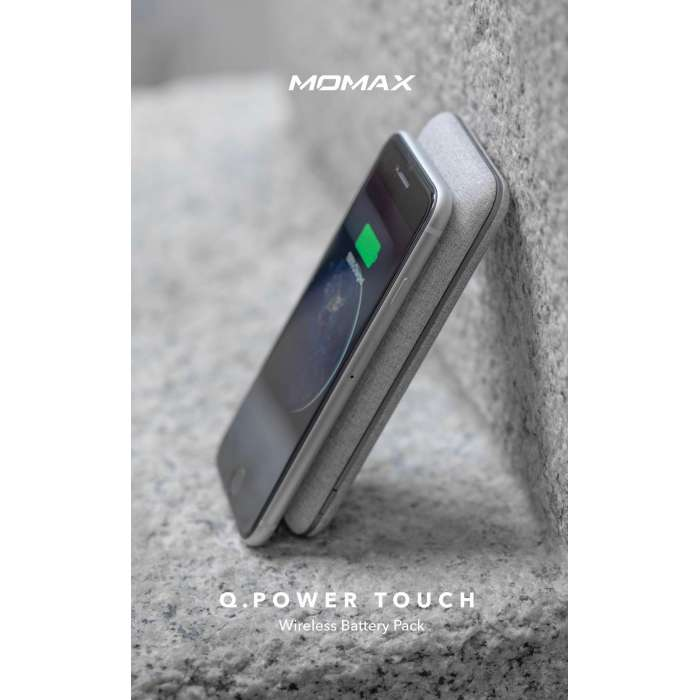 Momax Q. Power Touch Wireless External Battery Pack (10,000mAh) White Fabric