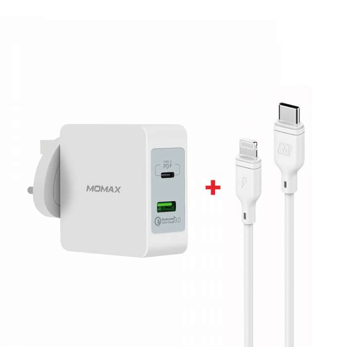 MOMAX Type-C PD Set OnePlug 2 Port USB Fast Charger 48w + Lightning to Type-C Cable - White