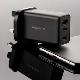 MOMAX ONE Plug 65W 3-port GaN Charger - Black (UM20UKD)
