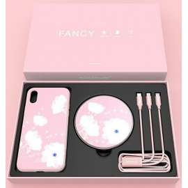 NILLKIN - IPHONE XS MAX 3-IN-1 BOX - HARDCASE , Wireless Charger & 3 in 1 Cable - Pink