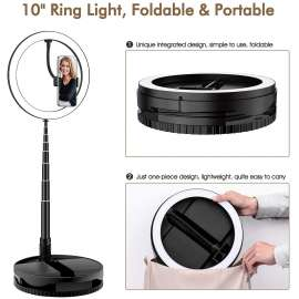 Portable Ring Light with Stand and Phone Holder, 10 inch Foldable Circle Light