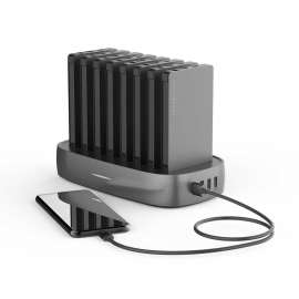 Powerology 8 in1 Power Station 8000Mah With Built-In Cable-Black