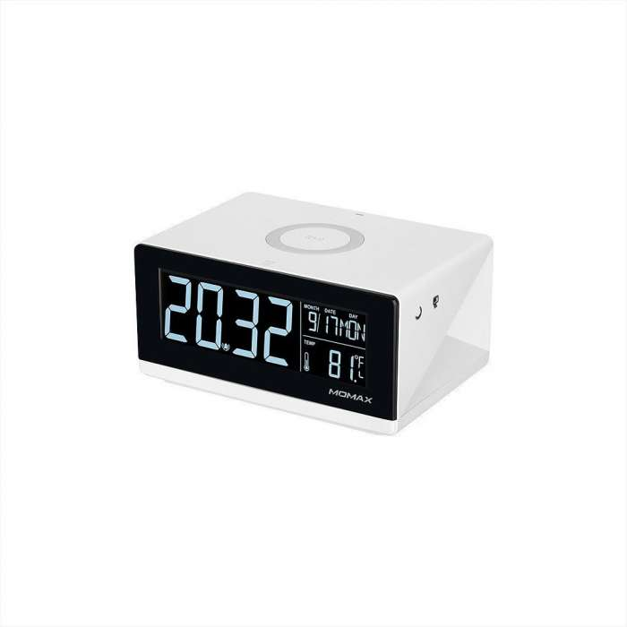 Momax Q.Clock Digital Clock With Wireless Charger White