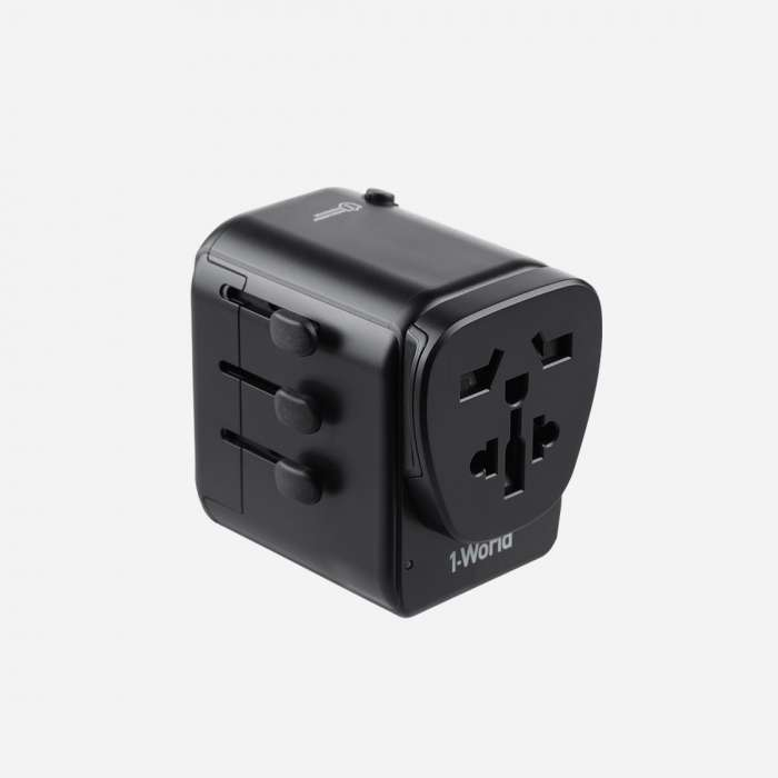 MOMAX 1-World with Type-C PD + 3 USB Ports AC Travel Adapter - Black