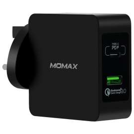 Momax 1-Plug USB fast charger (QC 3.0 +PD 48W) - Black