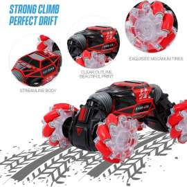 Skiding Stunt Car Remote Control Car, 4WD Watch Gesture Sensor Control - Red