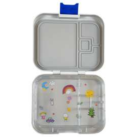 Citron Bento Style Lunchbox- Medium with 3 compartments with Fork and Spoon ‐  Medium Grey