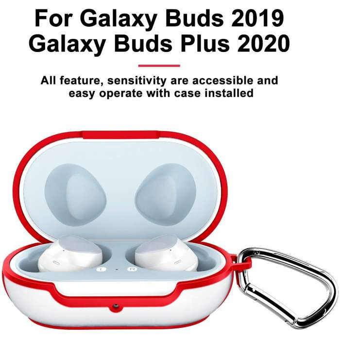 XUNDD Frosted Clear Case Cover for Galaxy Buds - Red