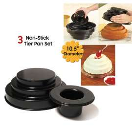 Non-Stick 3 Tier Pan Set For Bake Cake