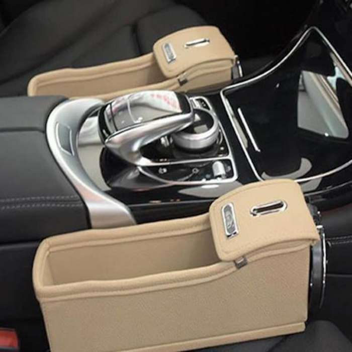 Car Seat Storage Box - Multi-Purpose Car Interior Organiser - Cream White