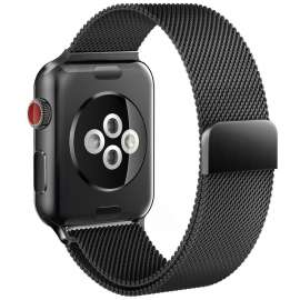 Apple Watch Mesh Smooth Stainless Steel Strap - Metalic Black